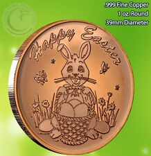 """Easter Bunny"" Copper 1 oz .999 Copper Round Happy Easter"