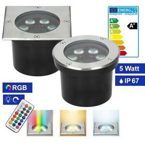 Spot LED encastré au sol 5W IP67 RGBW encastrable extérieur rond / carré 1-10x