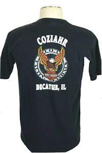 Vintage Coziahr Harley Davidson Decatur, IL Men's Large Black T-Shirt, issue
