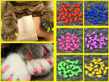 20pcs Soft Pet Nail Covers Cat Nail Caps Pet Claw Paws Cover Caps with Free Glue