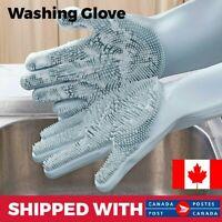 2 Pair Magic Silicone Dishwashing Gloves Cleaning Sponge Brush Heat Resistant