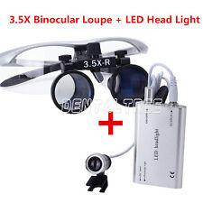 Surgical Dental Medical Binocular Loupe 3.5X + LED Head Light Lamp Silver