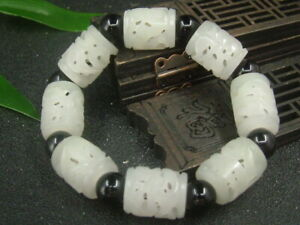 Chinese Antique Nephrite HETIAN jade Hollow bangle 8-PIC RUYI Bracelets