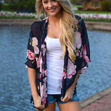 Womens Boho Gypsy Floral Kimono Cardigan Loose Tops Summer Beach Cover Up Blouse