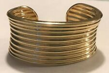 ROSS SIMONS Gold Over Sterling Silver Rippled Concave Wide Cuff Bracelet 30g