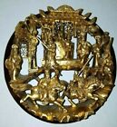 Antique Chinese Carved Gold Gilt Gilded Wood 3D Round Panel Temple Medallion 8 5
