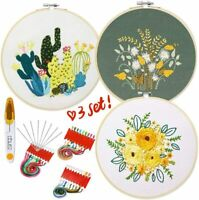 Embroidery Kit 3 Pack for Beginners, Cross Stitch Kits DIY with Embroidery Hoop