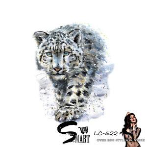 Snow Leopard Wild Cat Temporary Outer Arm Thigh Tattoo Sticker Light Blue LC622