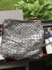 Kenny Ma designer, NIQUEA.D Silver with turquoise Stone Evening Clutch $250 NWT