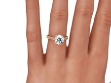 4.00 CT ROUND CUT D VVS2 ENHANCED DIAMOND SOLITAIRE RING 14K ROSE GOLD