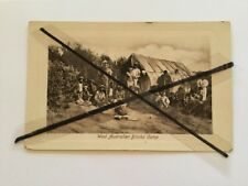 ANTIQUE VINTAGE OLD PHOTO POSTCARD ABORIGINAL PEOPLE IN CAMP WEST AUSTRALIAN