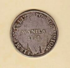 "VERY RARE Philippine 1828 PERU 8 Reales Counterstamp "" MANILA 1828 + Crown """