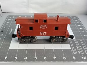 Marx O Scale red New York Central System caboose Complete car w/ smoke stack 3