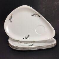 Mid Century Fukagawa Arita 6 Snack Plates Handpainted White Silver Wheat #931
