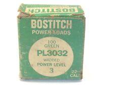 Vintage Bostitch Power Loads 22 Cal. Pl3032 Green Level 3 100 Count Nos