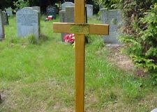 "Oak Memorial Wooden Cross Grave Marker 36"" & Stay-bright Plaque"