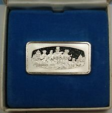 1000 Grain Ingot of Solid Sterling Silver, Commemorating Christmas 1973