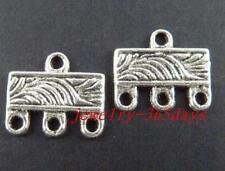 140pcs Tibetan Silver Rectangle 3-to-1 Connectors 12x10mm 20