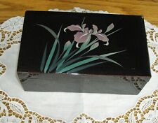 San Francisco Music Jewelry Box Company Memories Black Lacquer Purple Orchids ~