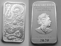 2020 1 OZ 🔴 Australian Rectangular DRAGON Silver Coin Pure 999 Silver Coin 🔴