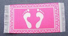 1:12 Scale Woven Pink Bath Room Feet Design Rug Mat Dolls House Miniature Carpet