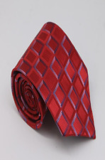 Red Luxury Hand Woven 100% Pure Silk Tie with Blue Pink & Red Square Design