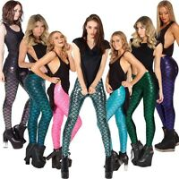Metallic Mermaid Leggings Fish Scale Pants Shiny Skinny Iridescent Laser Leggins