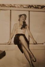 VINTAGE WINDOW TREATMENTS FASHION LONG LEGS VERNACULAR PHOTOGRAPHY FOUND PHOTO