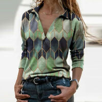 Womens Long Sleeve V Neck Geometric Print T-shirt Blouse Casual Pullover Tops