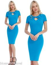 Goddiva Blue Pleated Front Keyhole Fitted Pencil Cocktail Evening Party Dress 12