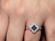 Sapphire And Diamond 14 K White Gold Ring