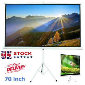 70 inch Projection Screen Tripod Stand Projector Movie Office Home Pull-Up 1:1