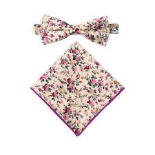 Floral Pastel Pink Rose Cotton Bow Tie Wedding Bowtie for Men Groomsmen Pre Tied