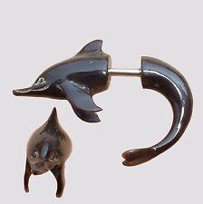 PAAR !  Ohrringe Delfine Dolphin Horn Fake Plug Piercing Geschraubt Schmuck F031