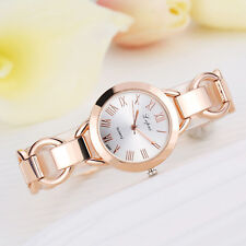 Women Lady Fashion Roman Numerals Stainless Steel Band Analog Quartz Wrist Watch Rose Gold&white