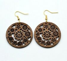 Handmade Boho Bohemian African Wood Wooden Flower Floral Earrings + Gift Pouch