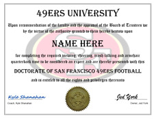SAN FRANCISCO 49ERS PERSONALIZED FAN DIPLOMA, GREAT GIFT