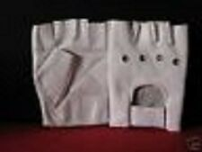 WHITE LEATHER FINGERLESS GLOVES - SIZE EXTRA SMALL