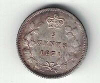 CANADA 1871 7/7 FIVE CENTS QUEEN VICTORIA STERLING SILVER COIN HIGH GRADE