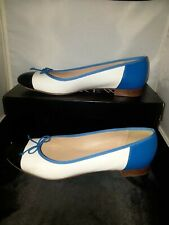 J. Crew Black Cap, Blue & White Ballet Flat 8 Leather Upper and Liner