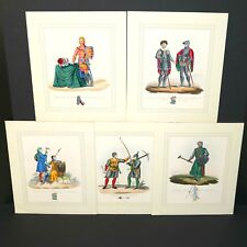 HAND COLORED PLATES 5 Midieval Armour Knights Crossbowman 1842 A Game Of Thrones