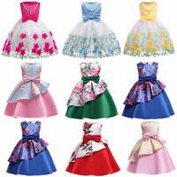New Baby Girls Shantung Blue Dress Pageant Wedding Birthday Formal Party 219F