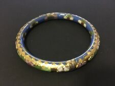 Vintage Pre Owned Cloisonne Hinged Bangle - Blue Gold & Flowers