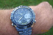 CITIZEN BLUE ANGELS NAVIHAWK PILOT ANA/DIGI  WORLD TIME ALARM CHRONO C300  A29