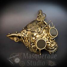 Men's Steampunk Fantasy Robotic Cyborg Wolf Terminator Masquerade Mask [Gold]