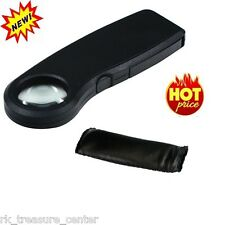 High Power 10x Illuminated LED Magnifying Glass Hand Held Magnifier #ML910L