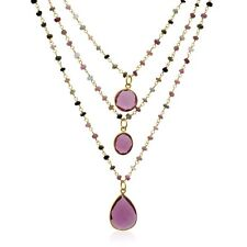 14k Gold Over Sterling Silver Pink Tourmaline Triple Strand Beaded Necklace