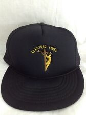 Electric Lines Snapback Hat Line Worker Trucker Cap Embroidered