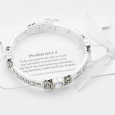 Psalm 62:12 Bracelet Stretch Bangle Crystals Salvation SLVR CL Religious Jewelry