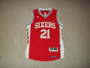 adidas Joel Embiid sewn Philadelphia 76ers Sixers Red #21 Adult Small Jersey